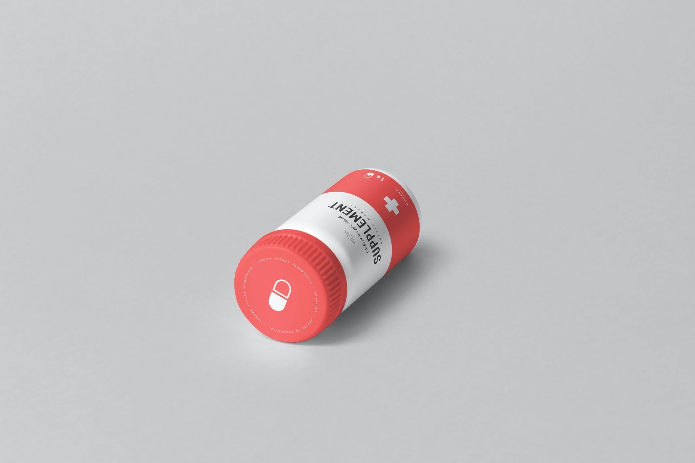 9款药物塑料补充瓶包装纸盒设计展示样机模板 Supplement Jar & Box Mockup 4插图(7)
