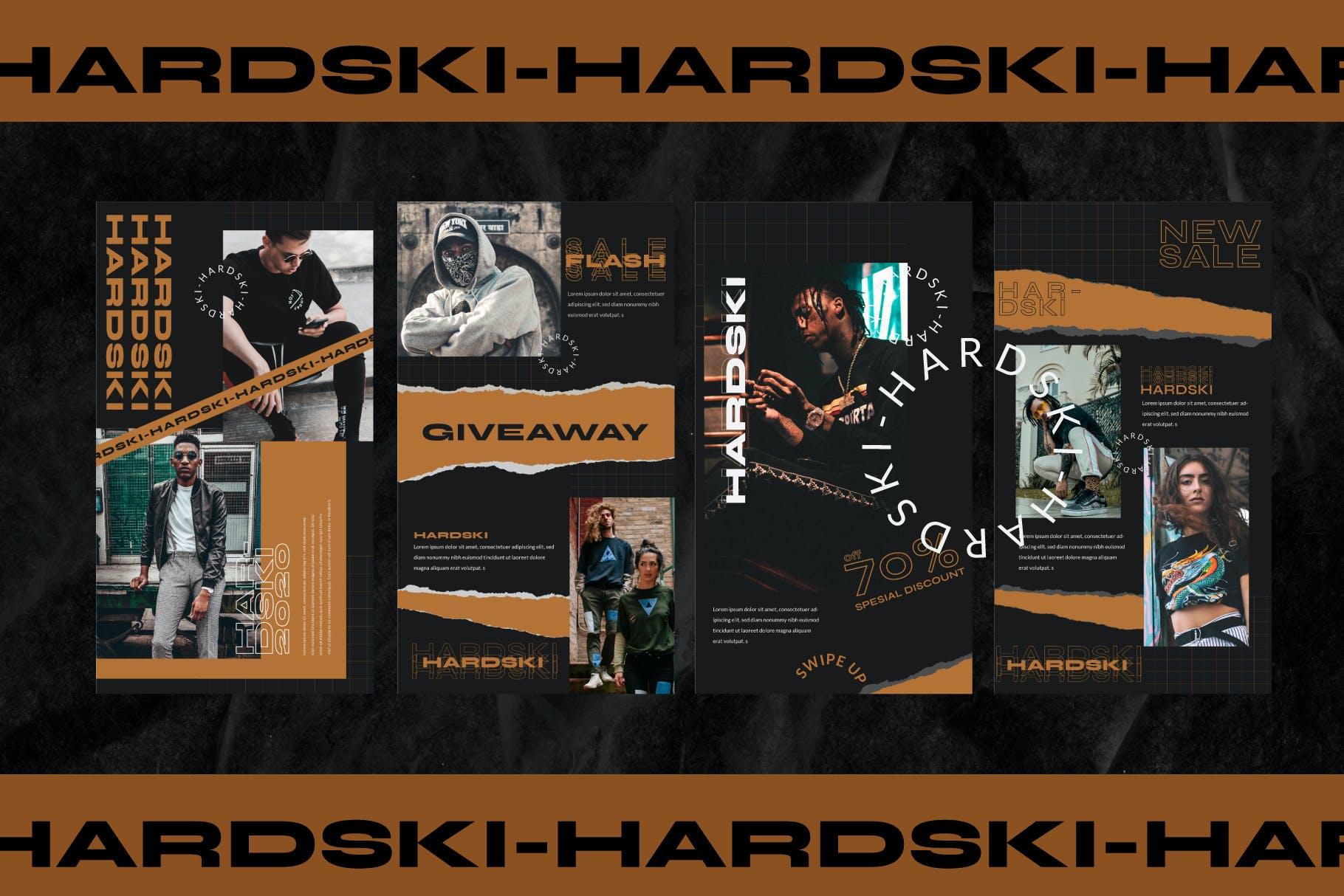 潮流街头潮牌服装推广新媒体电商海报设计PSD模板 Hardski – Instagram Post And Stories插图(7)