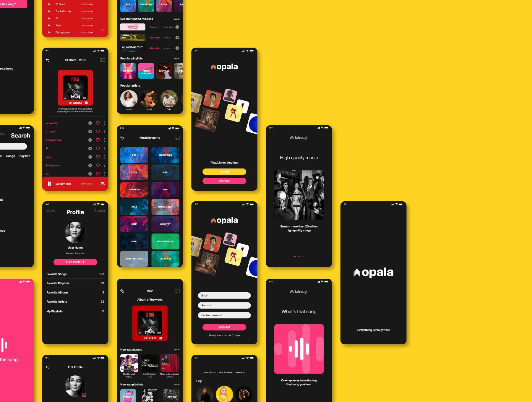 音乐播放器APP应用程序设计UI套件FIG模板 Opala Music app – FIGMA Version插图(5)