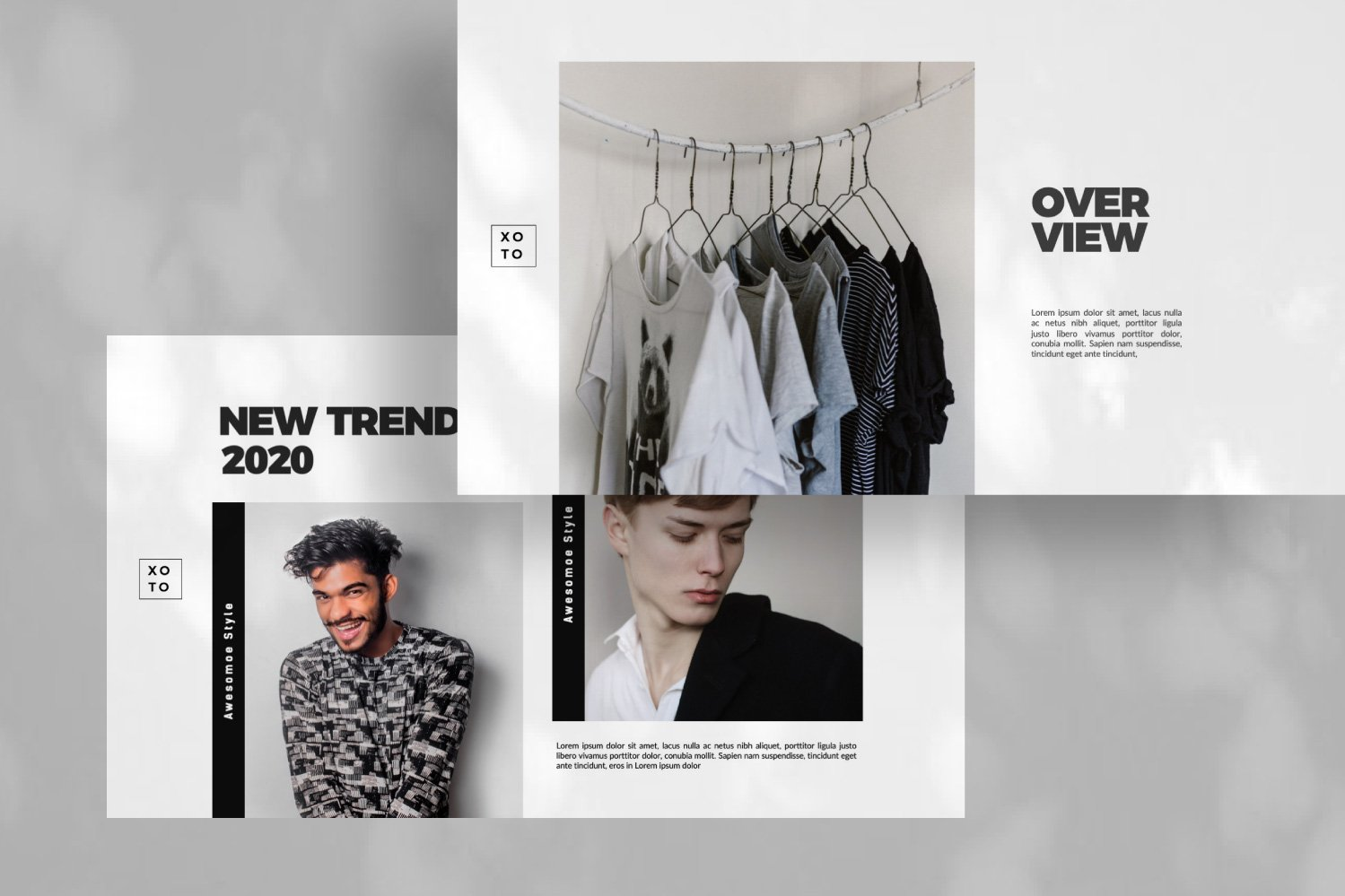 时尚简约服装设计作品集演示文稿模板 Xoto – Fashion Minimal Powerpoint插图(6)