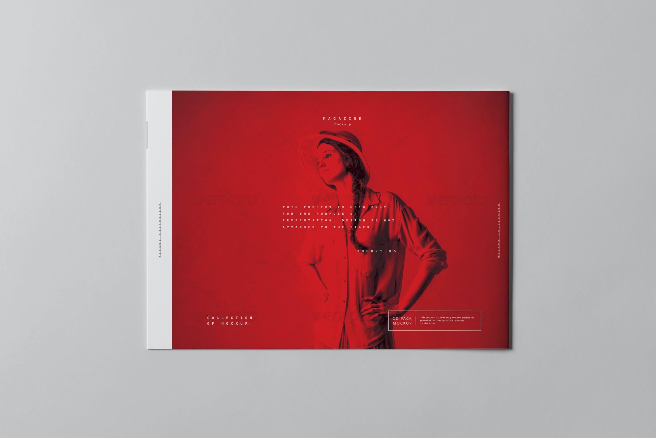 10款横版A4画册杂志设计展示样机模板 A4 Horizontal Brochure Mockup 3插图(8)