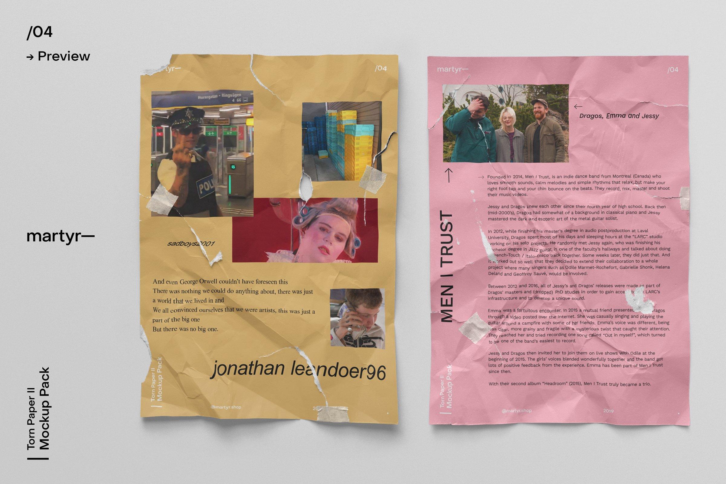 [淘宝购买]32款潮流破损撕裂褶皱A4纸张海报传单设计样机模板 Torn Paper II — Mockup Pack插图(8)