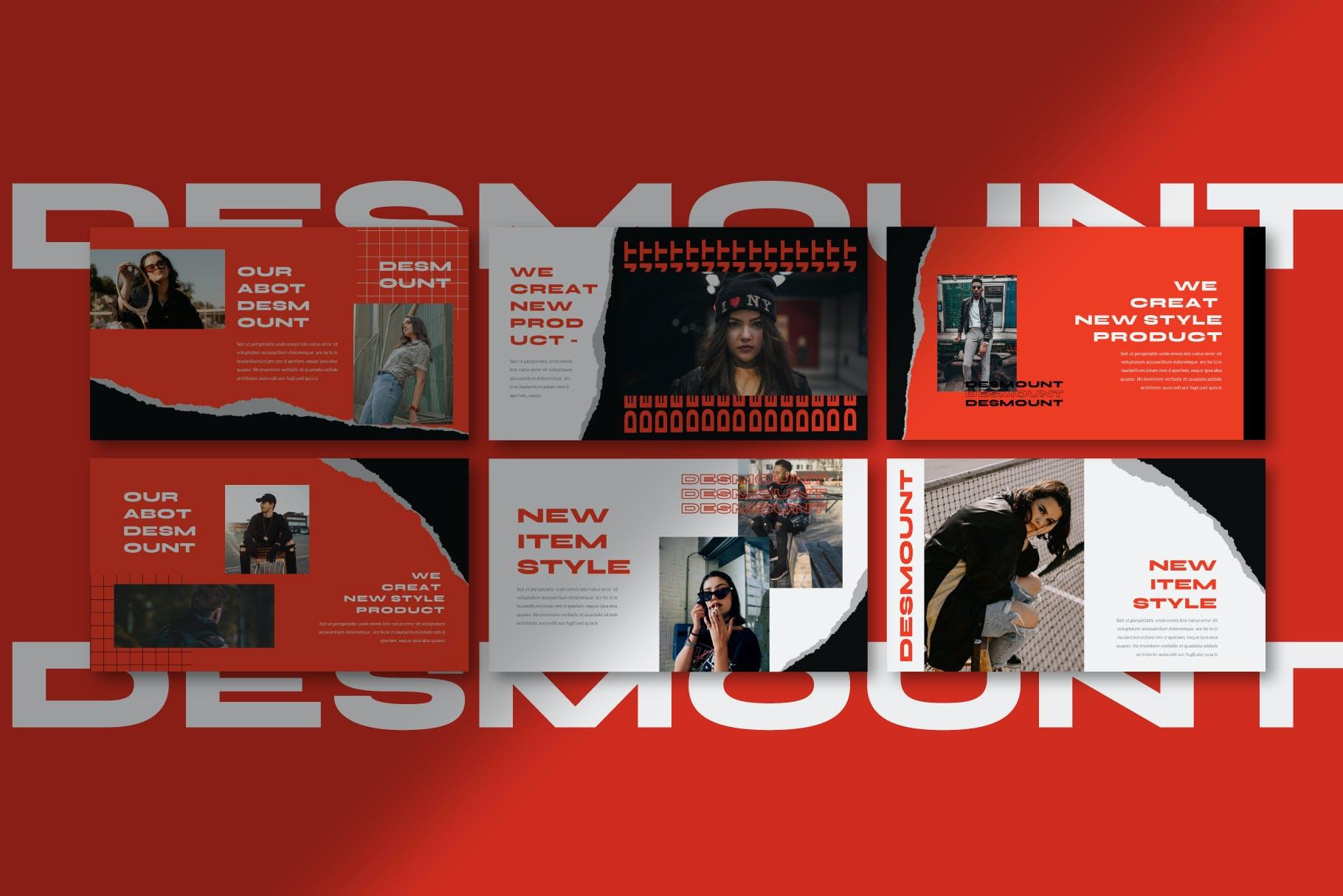 时尚潮流撕纸潮牌品牌推广深色PPT演示文稿模板素材 Desmount – Powerpoint Template插图(8)