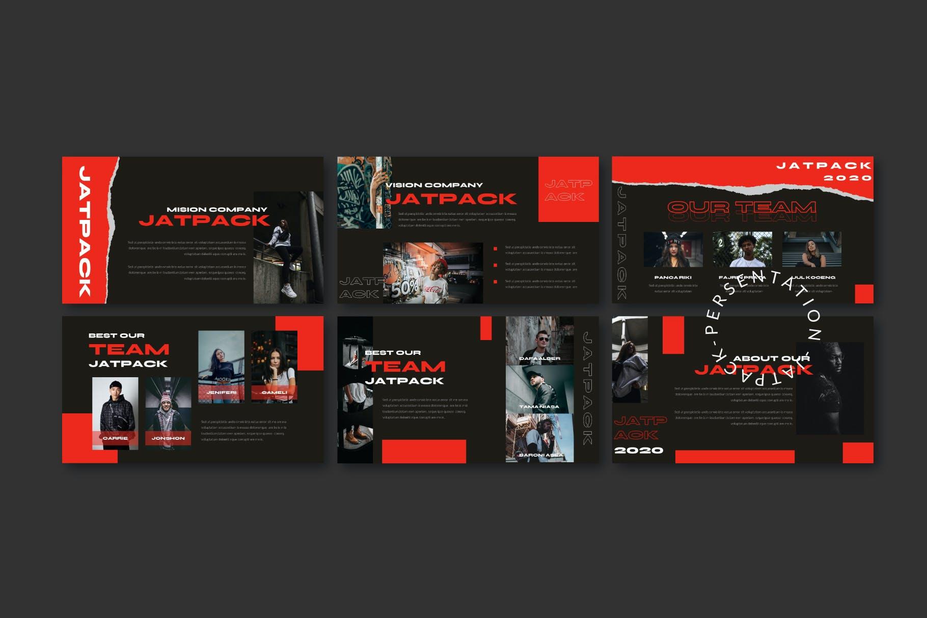 时尚潮流街头文化潮牌品牌推广深色PPT演示文稿模板 Jetpack – Powerpoint Template插图(8)