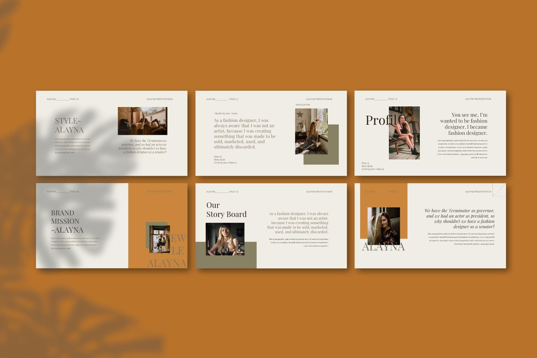 现代极简主义优雅轻奢品牌推广PPT演示文稿模板素材 Alayna – Powerpoint Template插图(8)