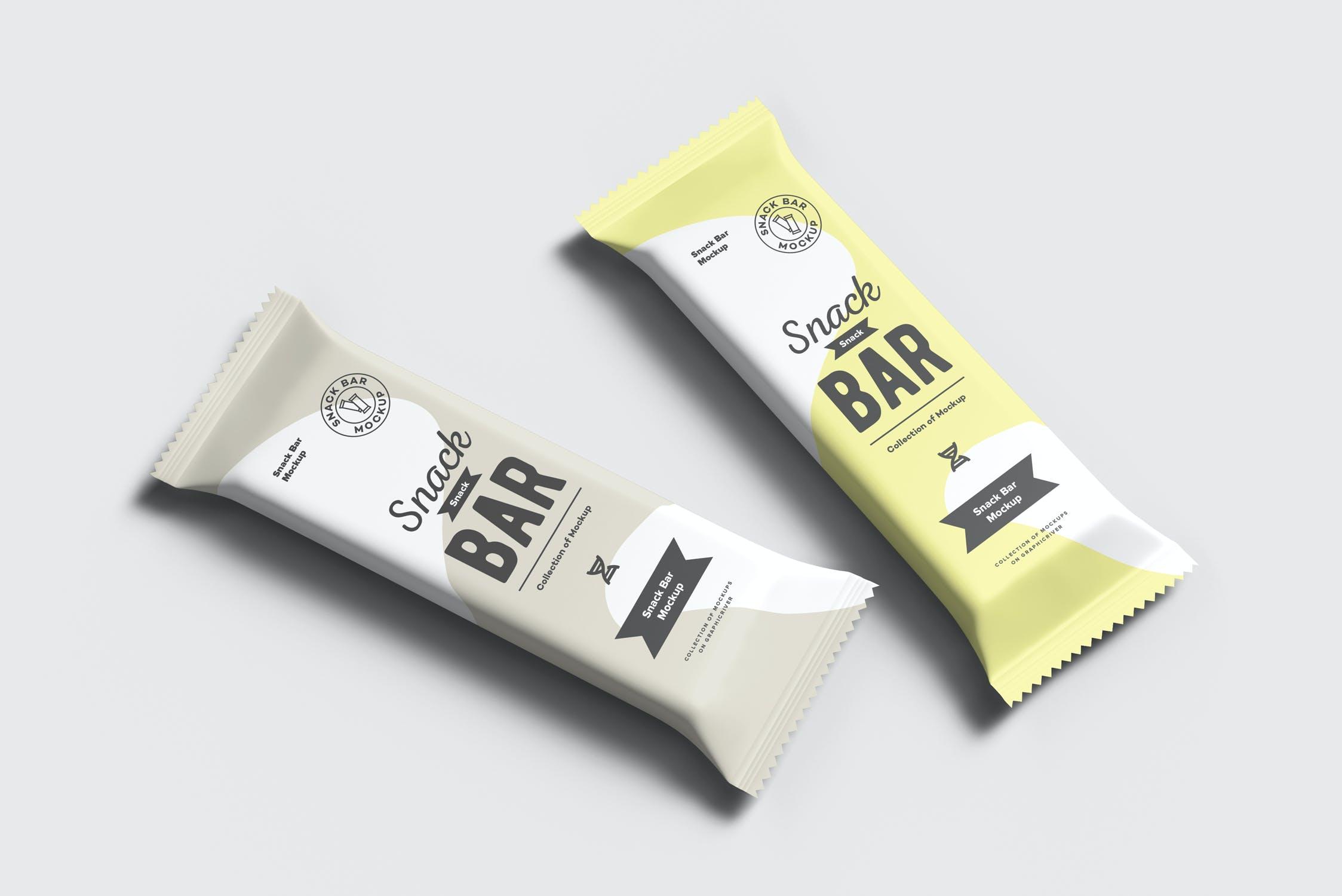7款巧克力棒小零食塑料袋设计展示样机 Snack Bar Mockup插图(8)
