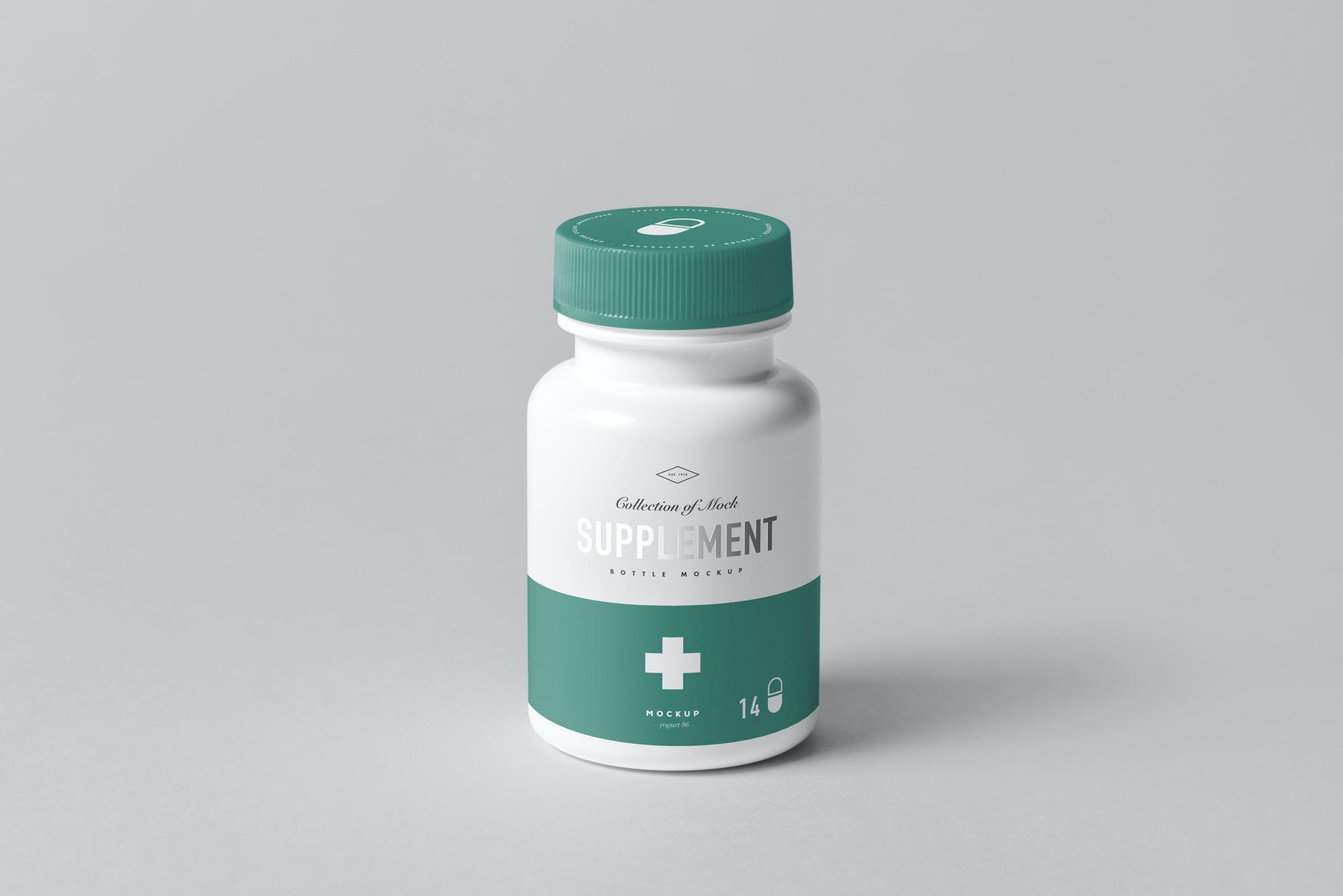 8款药物补充瓶塑料瓶包装盒设计展示样机模板 Supplement Bottle Mockup插图(8)