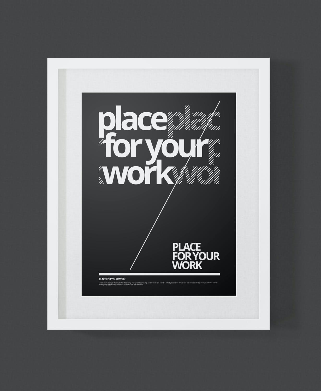 时尚绘画艺术品海报照片展示相框样机PSD模板 Frame For Your Work插图(8)
