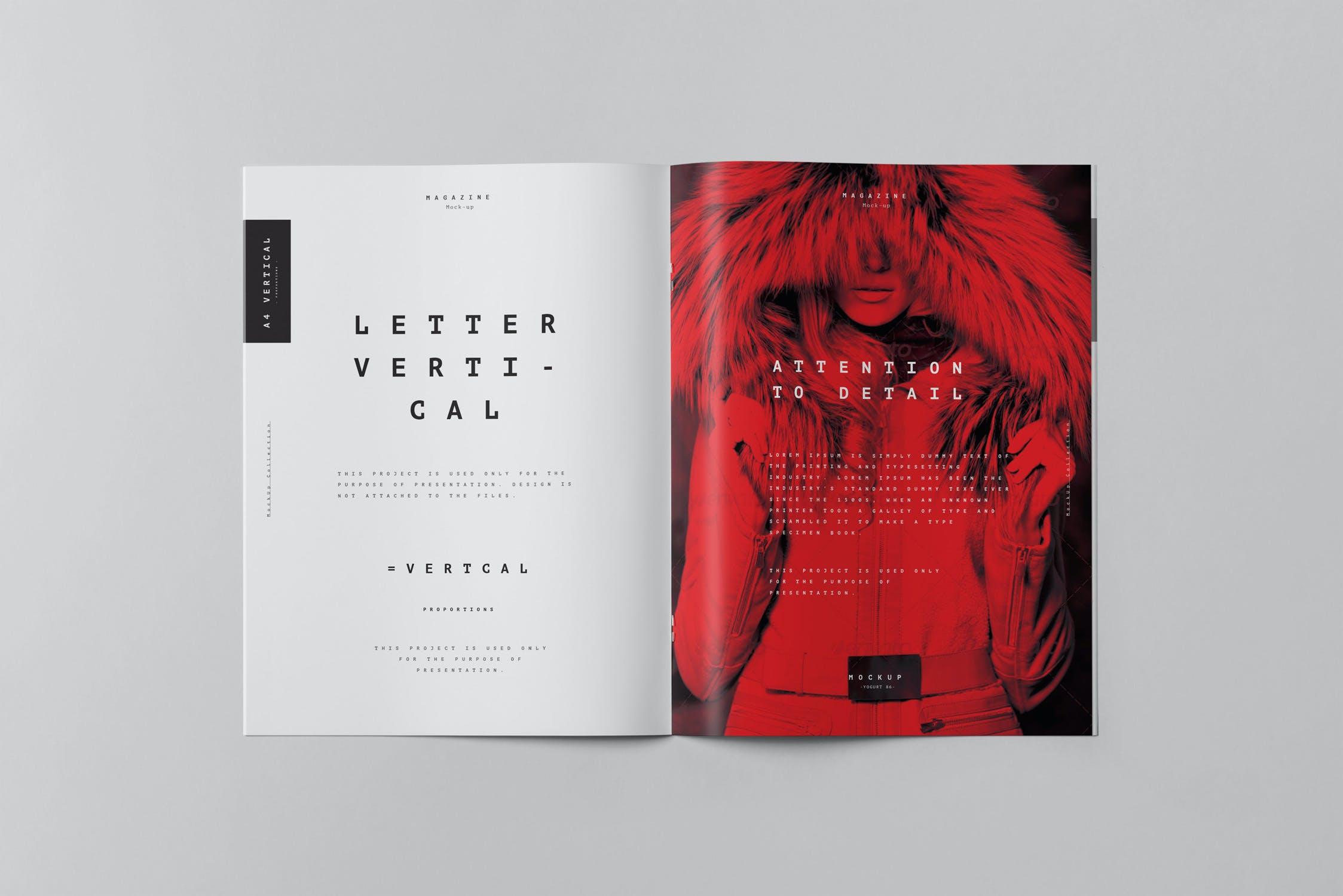 10款骑马钉宣传画册杂志设计展示样机模板 US Letter Brochure Mockup 3插图(8)