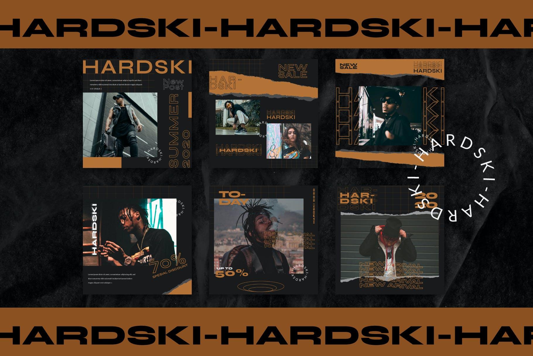潮流街头潮牌服装推广新媒体电商海报设计PSD模板 Hardski – Instagram Post And Stories插图(8)