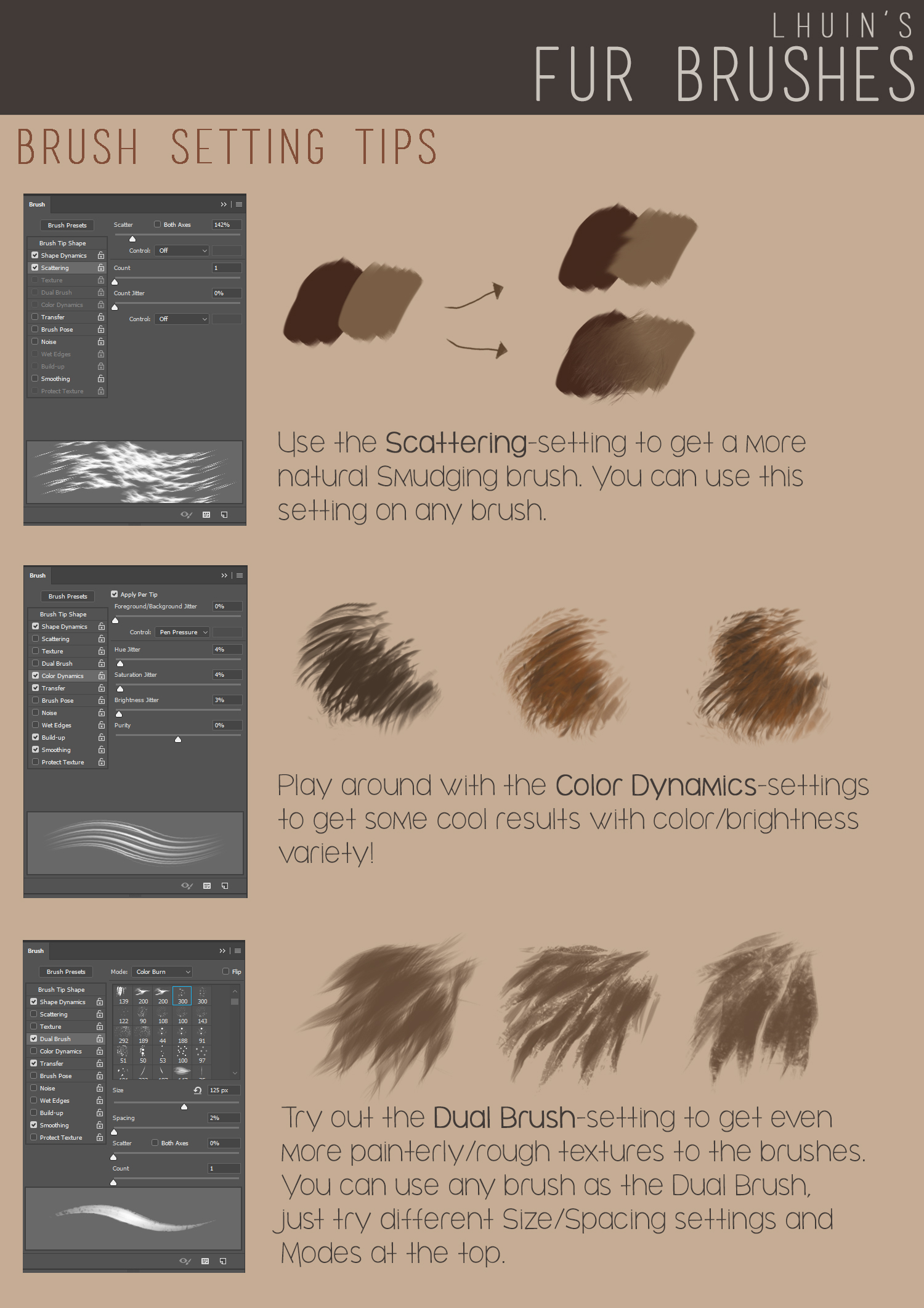 逼真毛发PS笔刷下载 Fur Brushes for Photoshop + Update插图(2)