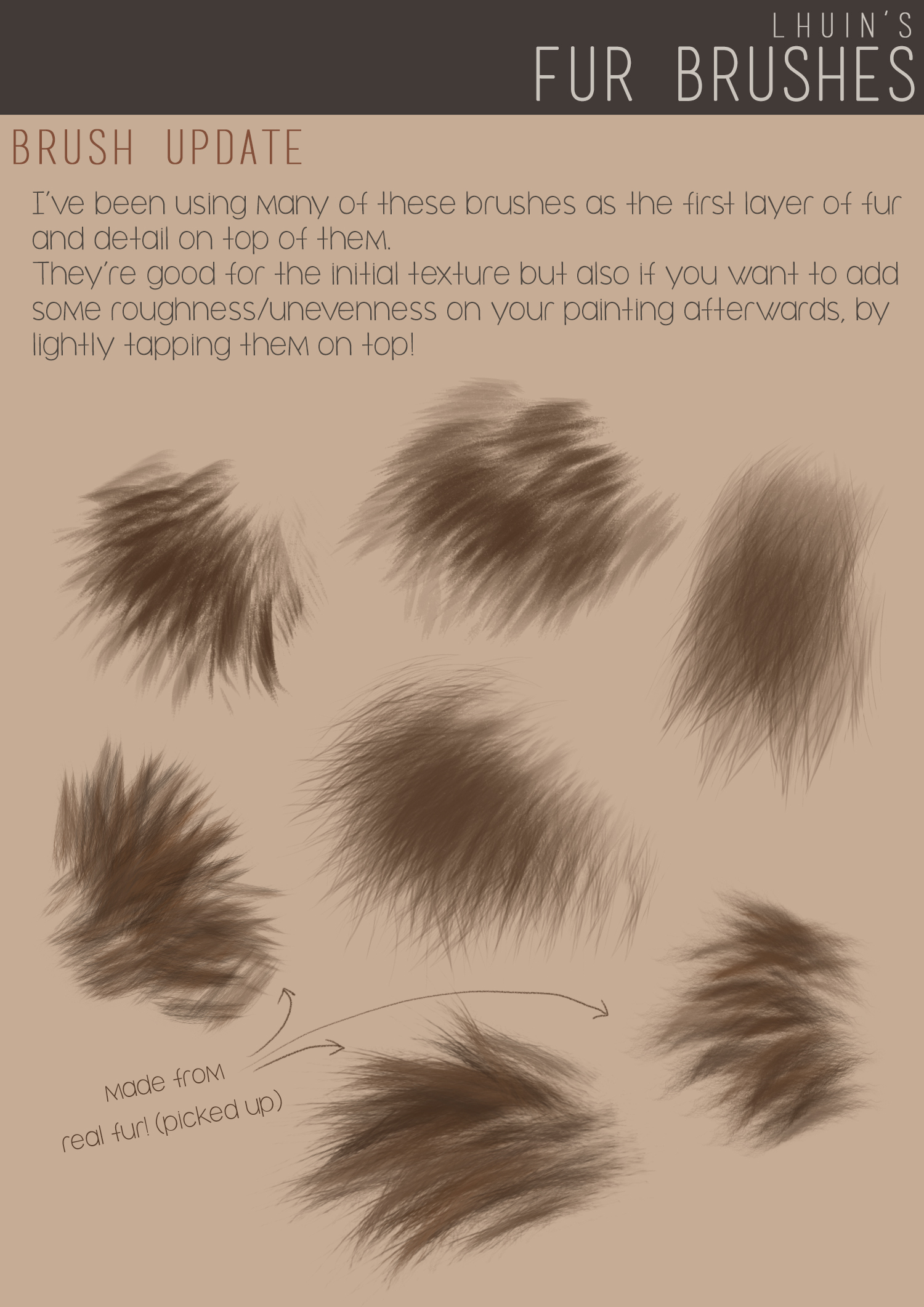 逼真毛发PS笔刷下载 Fur Brushes for Photoshop + Update插图(1)
