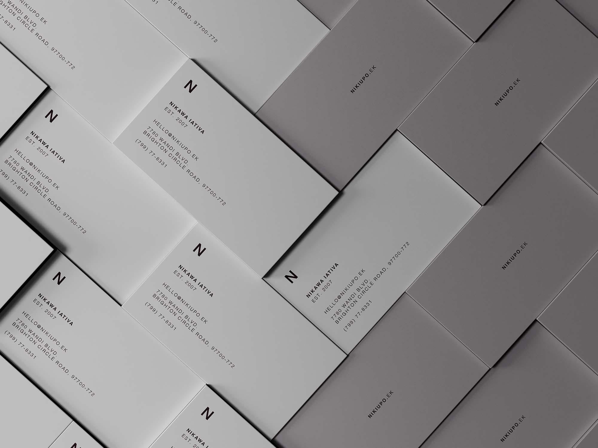 堆叠商务名片卡片设计展示样机 Stacked Business Cards Mockup插图