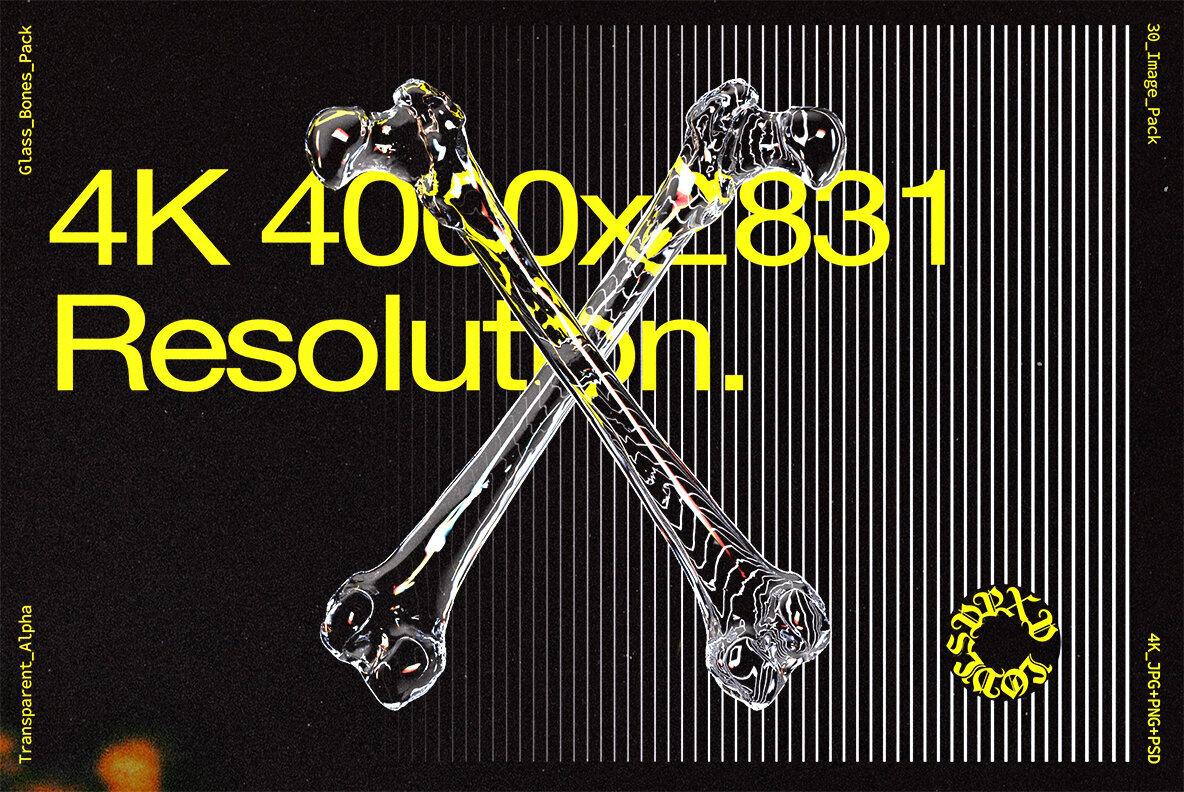 [淘宝购买] 10款高清潮流炫酷3D透明玻璃水晶材质人体骨骼平面广告设计图片素材 Glass Bones Pack插图(3)