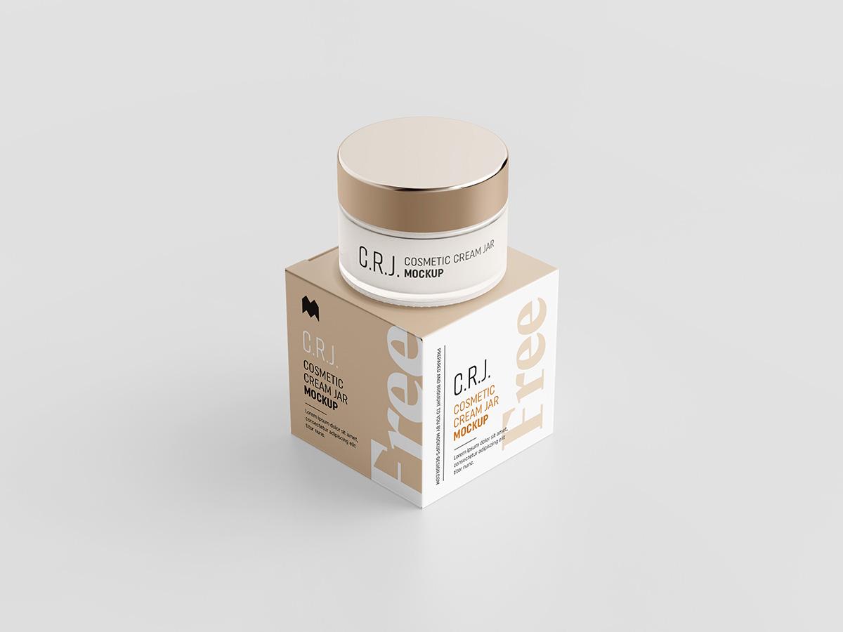 简约化妆品包装罐纸盒设计展示样机 Cosmetic Box With Jar Mockup插图(1)