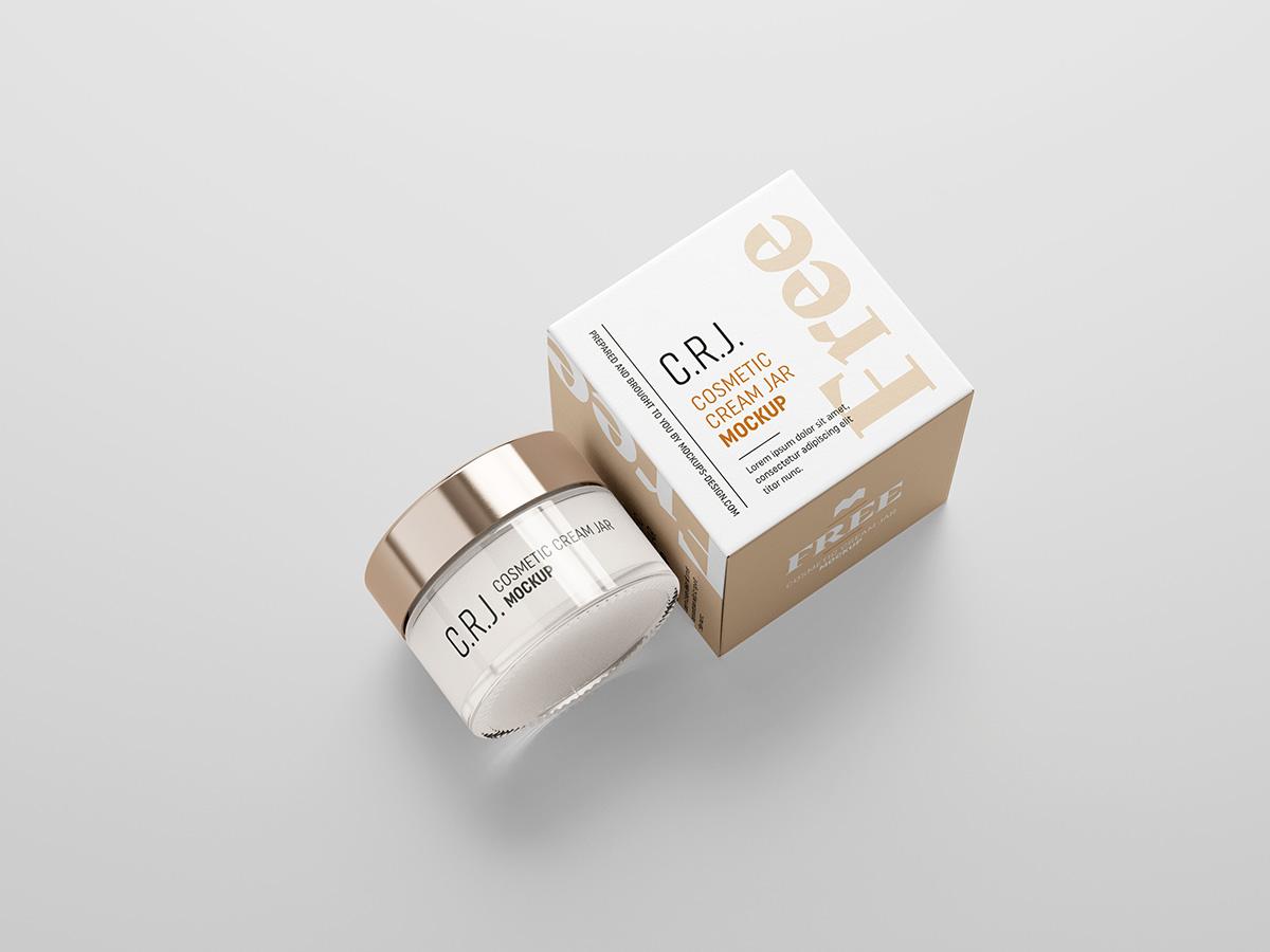 简约化妆品包装罐纸盒设计展示样机 Cosmetic Box With Jar Mockup插图(2)
