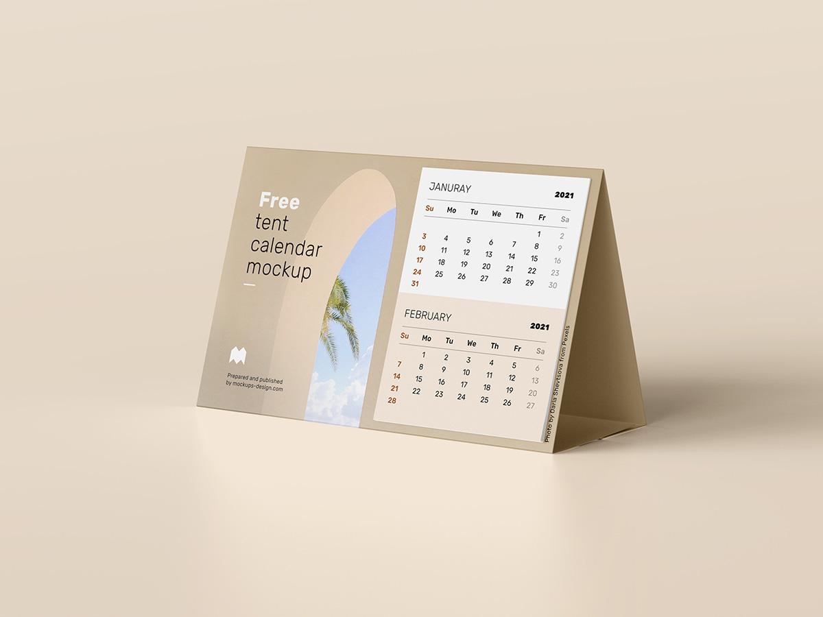 三角桌牌菜单日历设计展示样机模板 Tent Calendar Mockup插图(2)