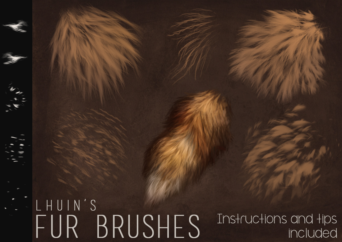 逼真毛发PS笔刷下载 Fur Brushes for Photoshop + Update插图
