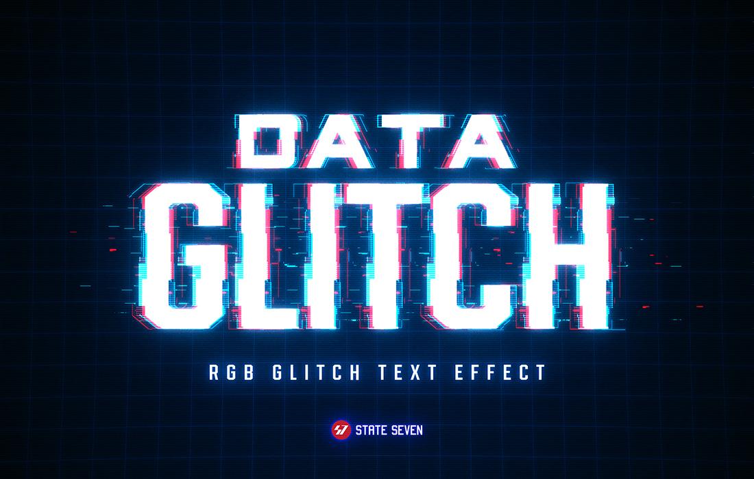 8款抽象扭曲故障风效果标题字体PS样式模板源文件 Glitch Text Effect插图