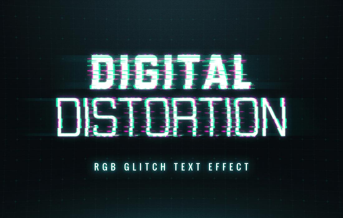 8款抽象扭曲故障风效果标题字体PS样式模板源文件 Glitch Text Effect插图(4)