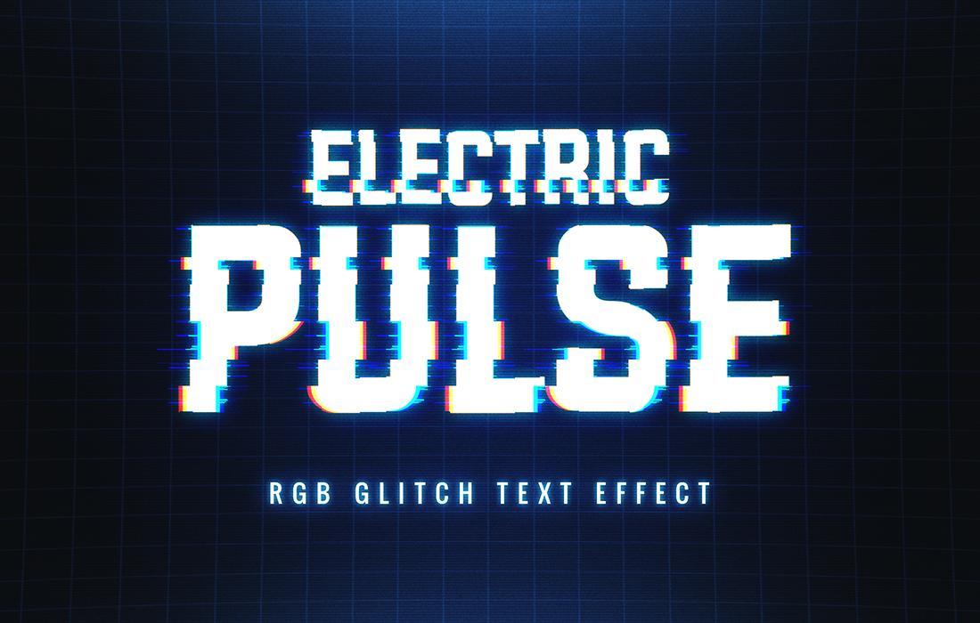 8款抽象扭曲故障风效果标题字体PS样式模板源文件 Glitch Text Effect插图(5)