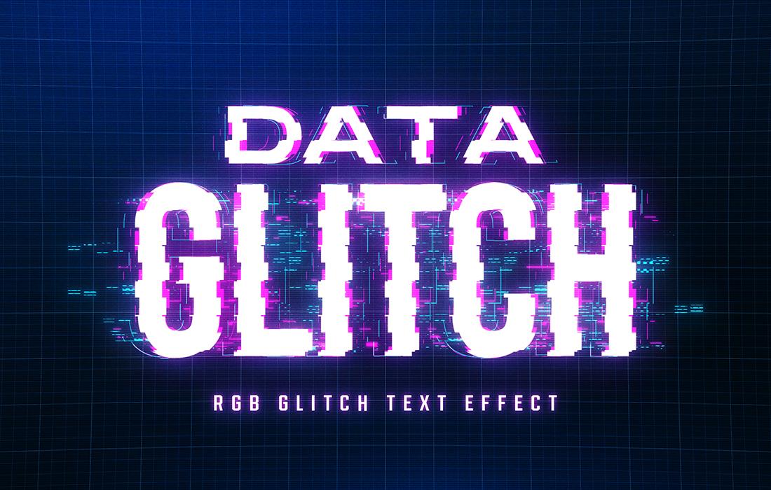 8款抽象扭曲故障风效果标题字体PS样式模板源文件 Glitch Text Effect插图(7)