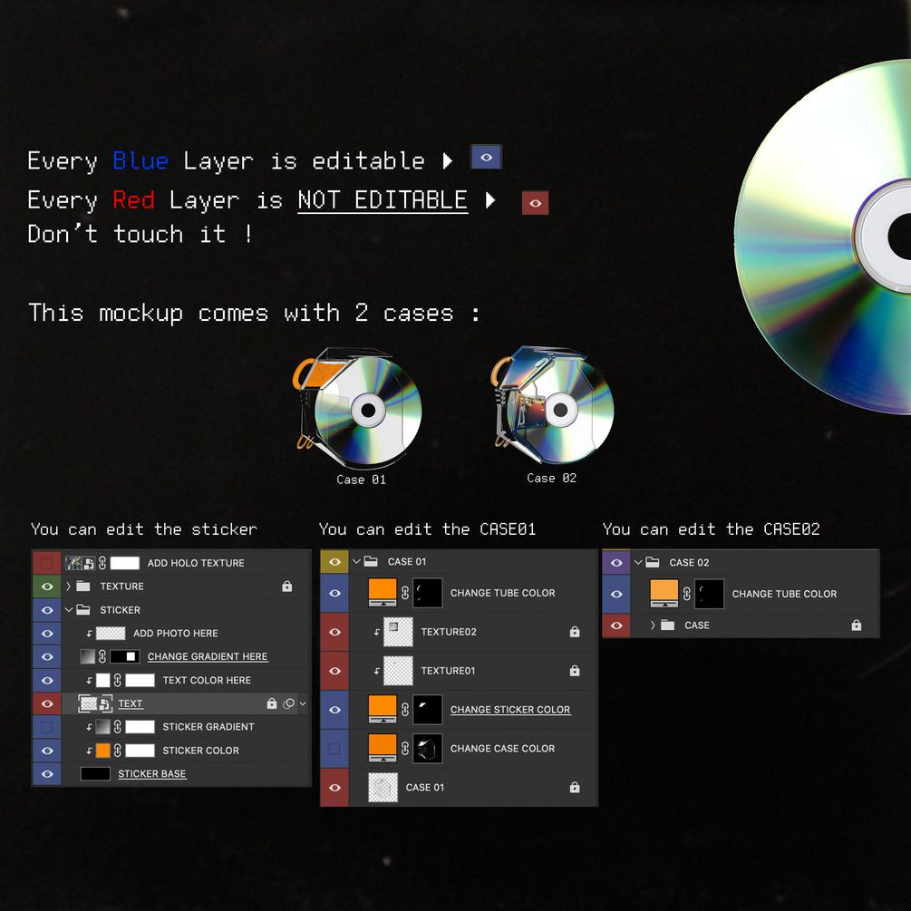 [已解锁精品素材] 潮流CD光盘贴纸设计展示样机模板 CD Case Mockup插图4