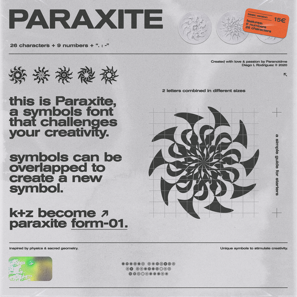 30多种抽象装饰符号图形字体下载 Paraxite Font插图