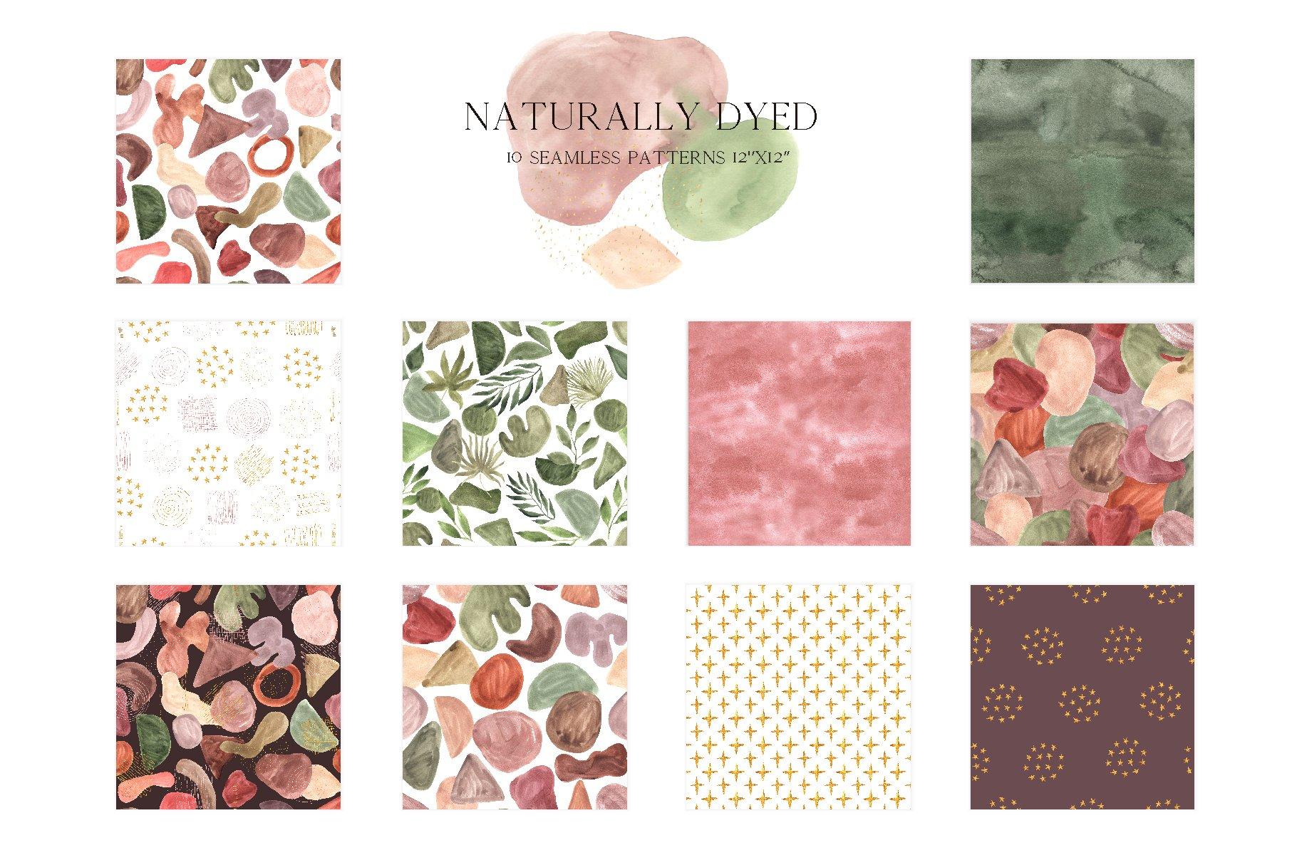 现代抽象水彩手绘植物花卉图案插画PNG免扣图片素材 Abstract Modern Watercolor Bundle插图(9)