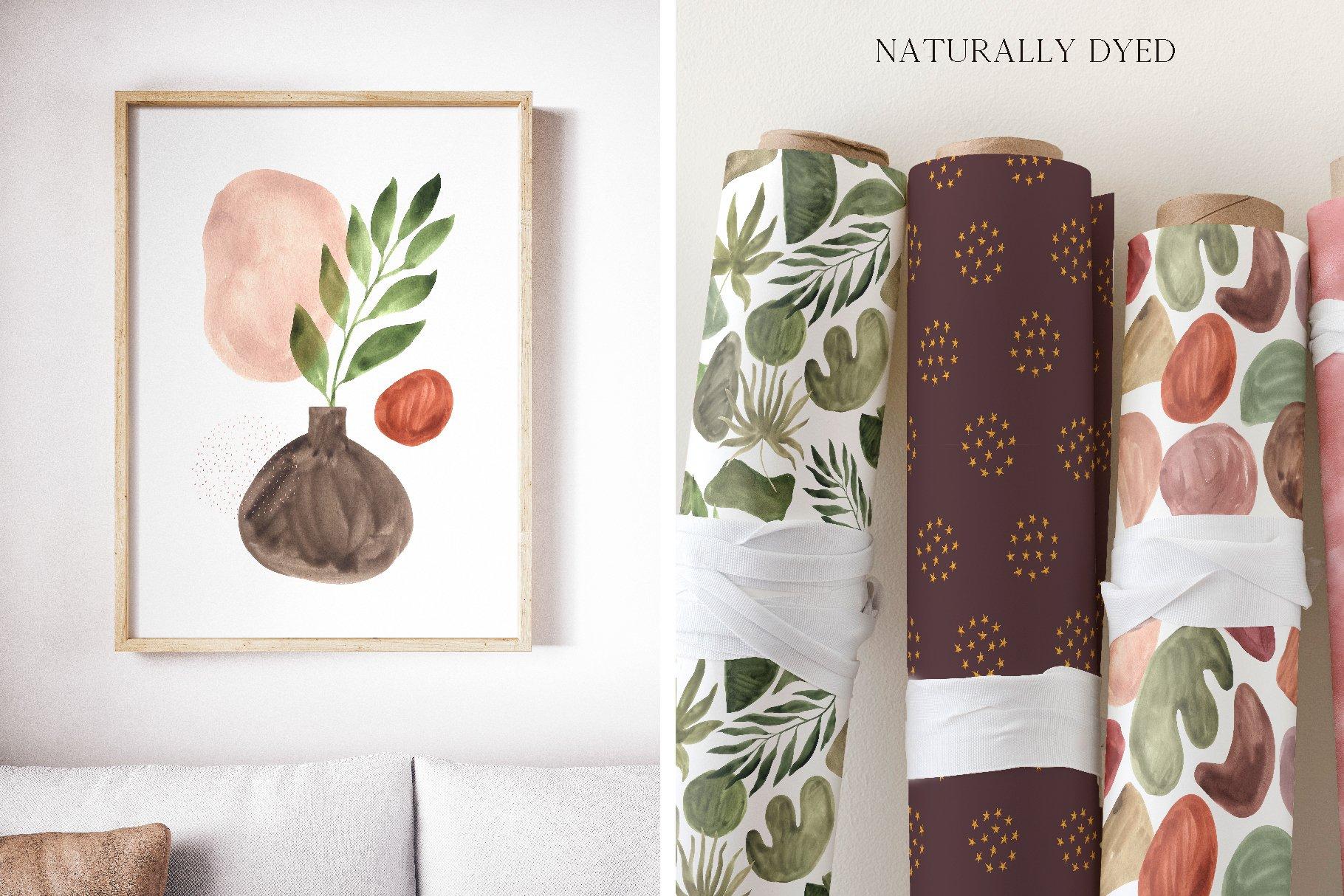现代抽象水彩手绘植物花卉图案插画PNG免扣图片素材 Abstract Modern Watercolor Bundle插图(10)