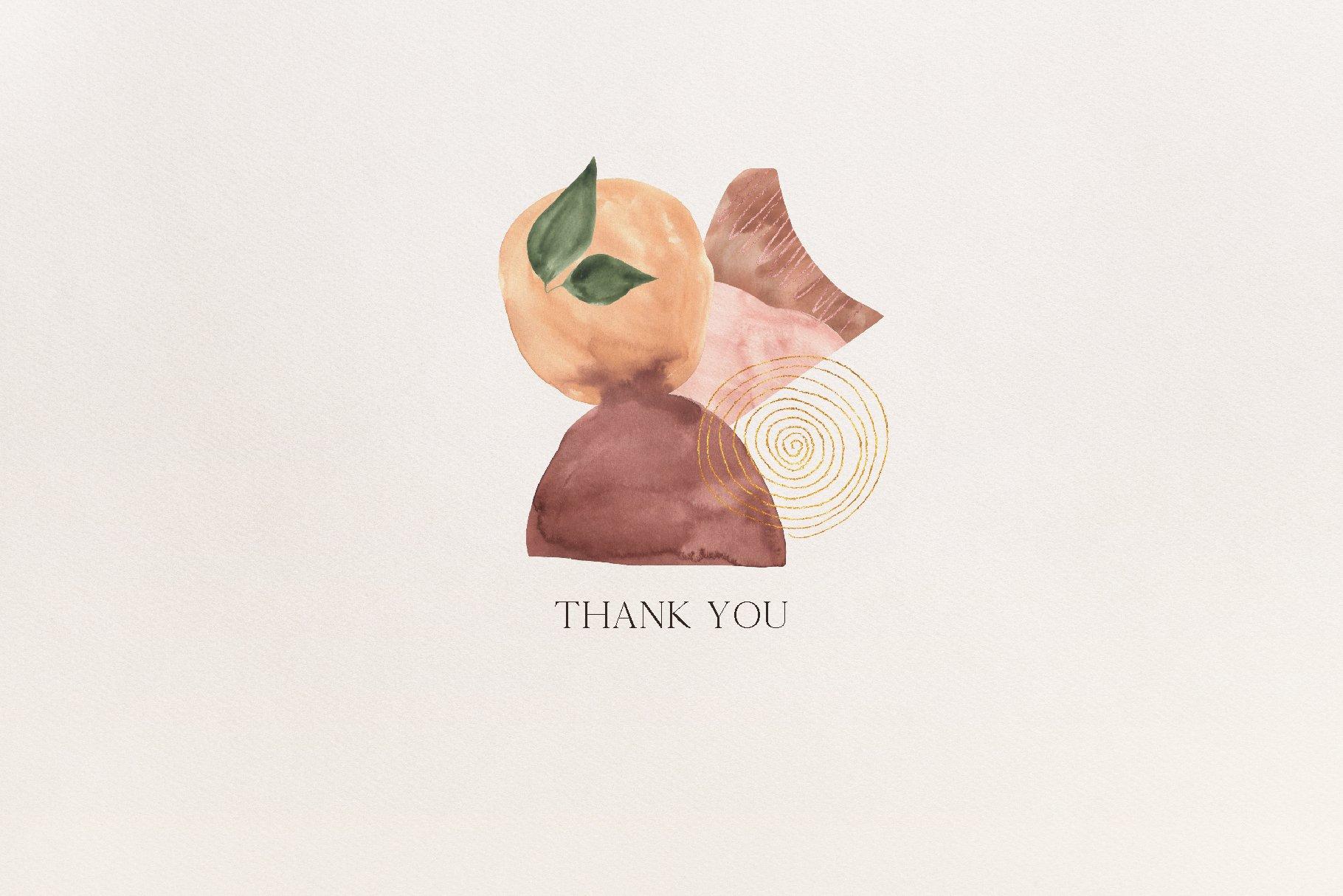 现代抽象水彩手绘植物花卉图案插画PNG免扣图片素材 Abstract Modern Watercolor Bundle插图(14)