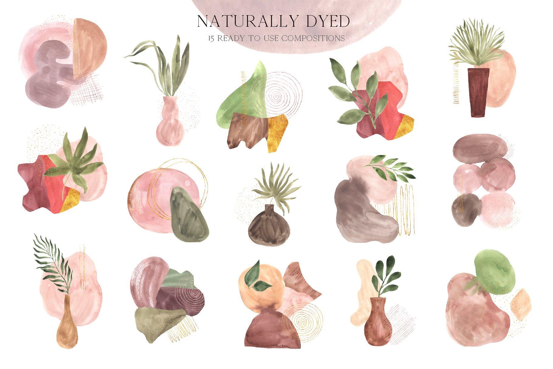 现代抽象水彩手绘植物花卉图案插画PNG免扣图片素材 Abstract Modern Watercolor Bundle插图(4)