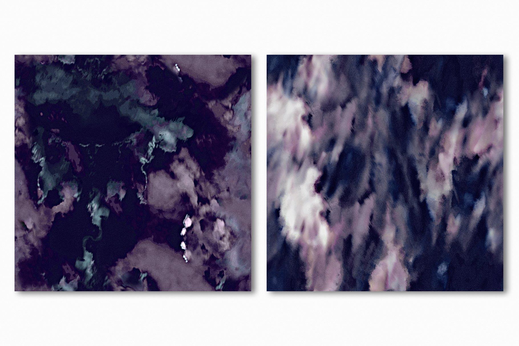 抽象紫色海军蓝绿色调丙烯酸油漆笔刷背景纹理图片素材 Brushstroke Textures Collection插图(19)