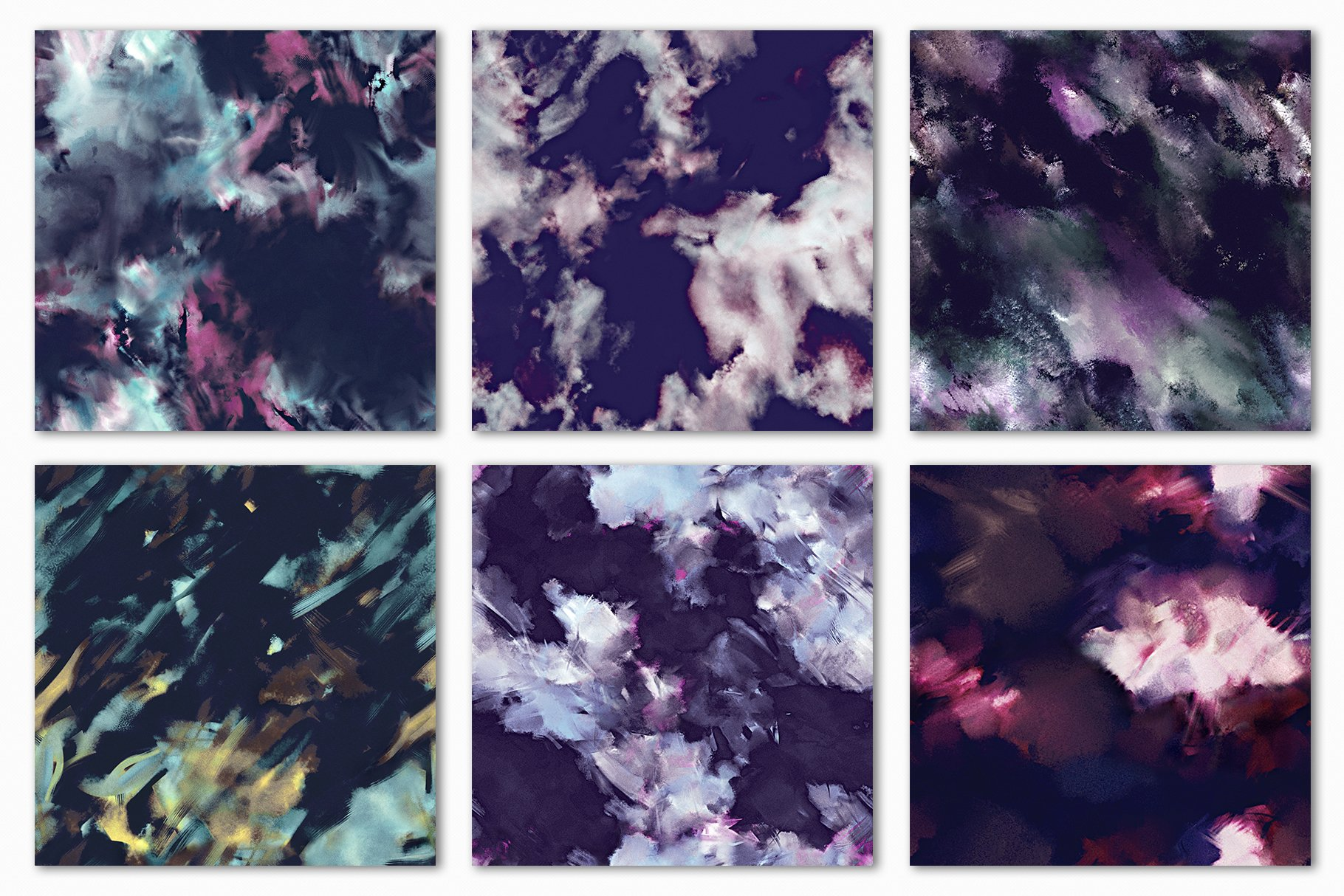 抽象紫色海军蓝绿色调丙烯酸油漆笔刷背景纹理图片素材 Brushstroke Textures Collection插图(20)