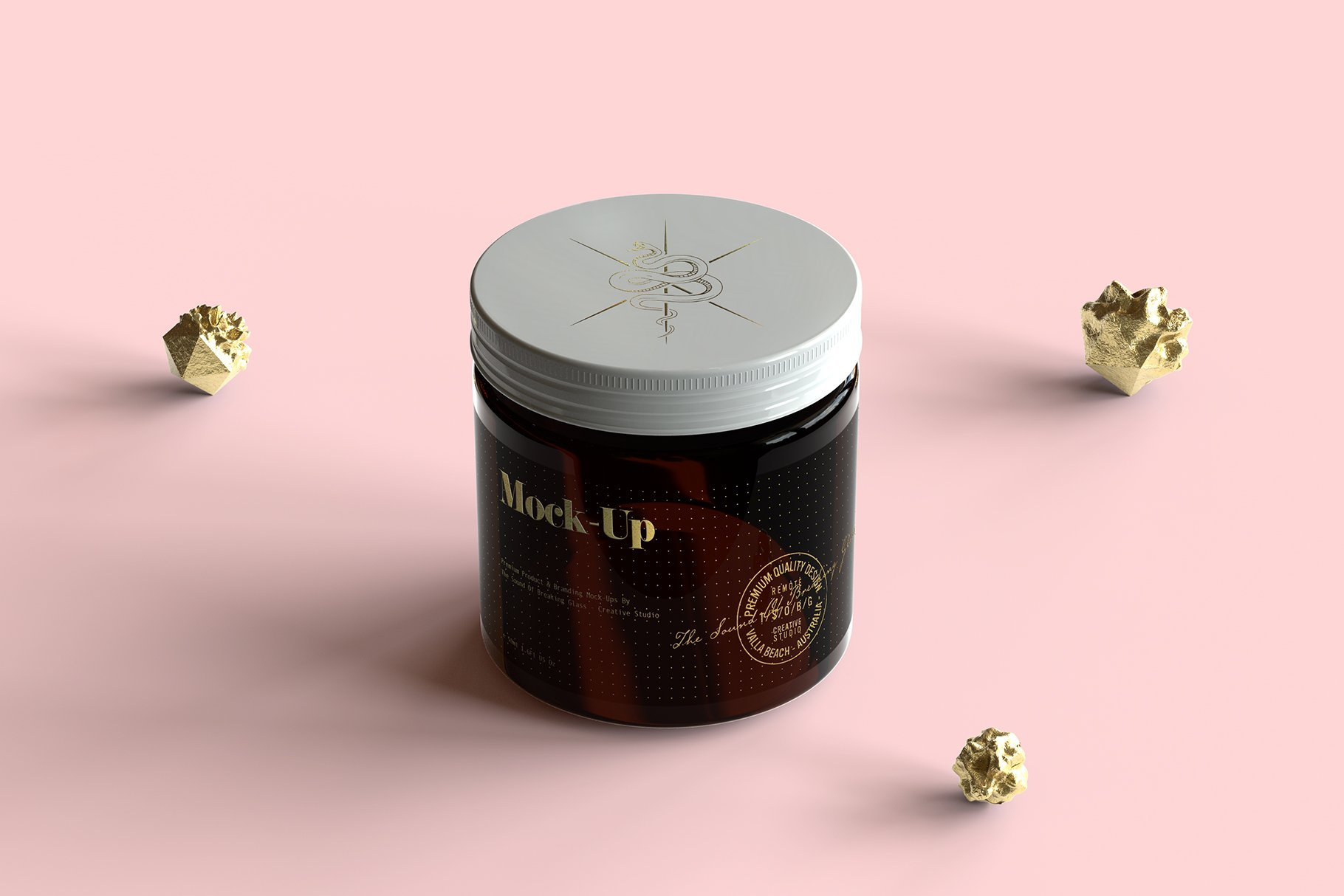 6款棕色化妆品玻璃罐包装盒设计展示样机 Amber Glass Jar & Box Mockup Vol.2插图(2)