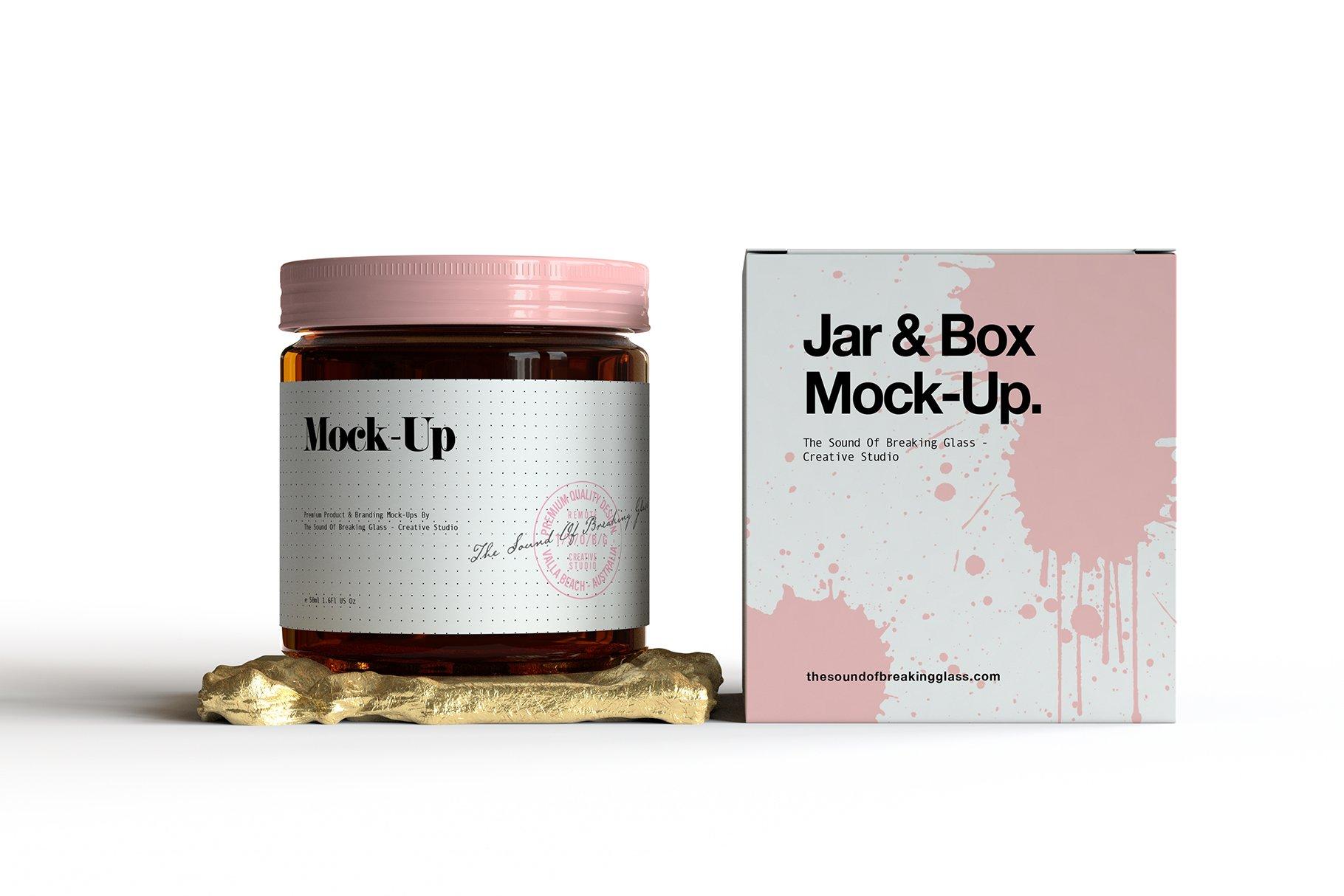 6款棕色化妆品玻璃罐包装盒设计展示样机 Amber Glass Jar & Box Mockup Vol.2插图(3)