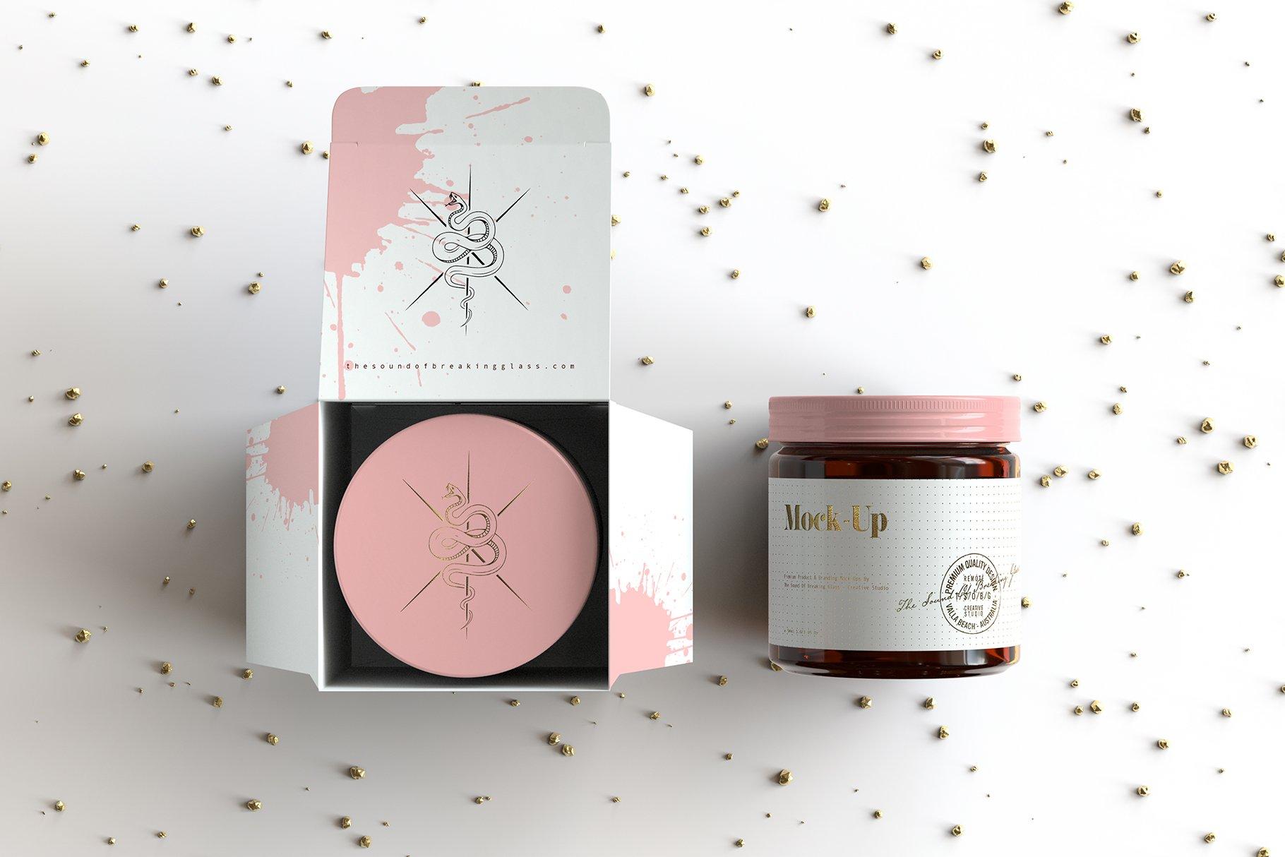 6款棕色化妆品玻璃罐包装盒设计展示样机 Amber Glass Jar & Box Mockup Vol.2插图(5)