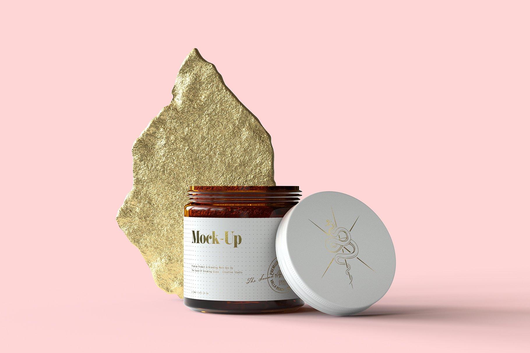 6款棕色化妆品玻璃罐包装盒设计展示样机 Amber Glass Jar & Box Mockup Vol.2插图(6)