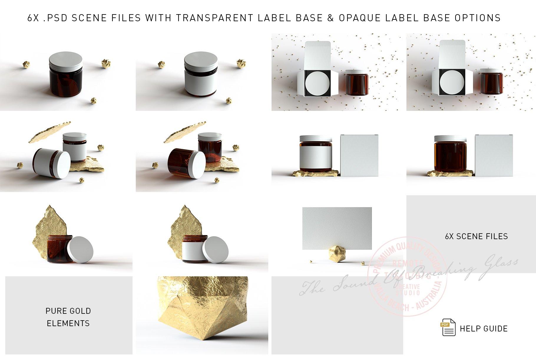 6款棕色化妆品玻璃罐包装盒设计展示样机 Amber Glass Jar & Box Mockup Vol.2插图(1)