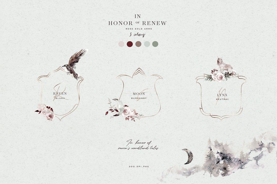 100多款高清手绘花卉植物山脉水彩画PNG透明图片素材 Woodland Ravens Field插图(1)