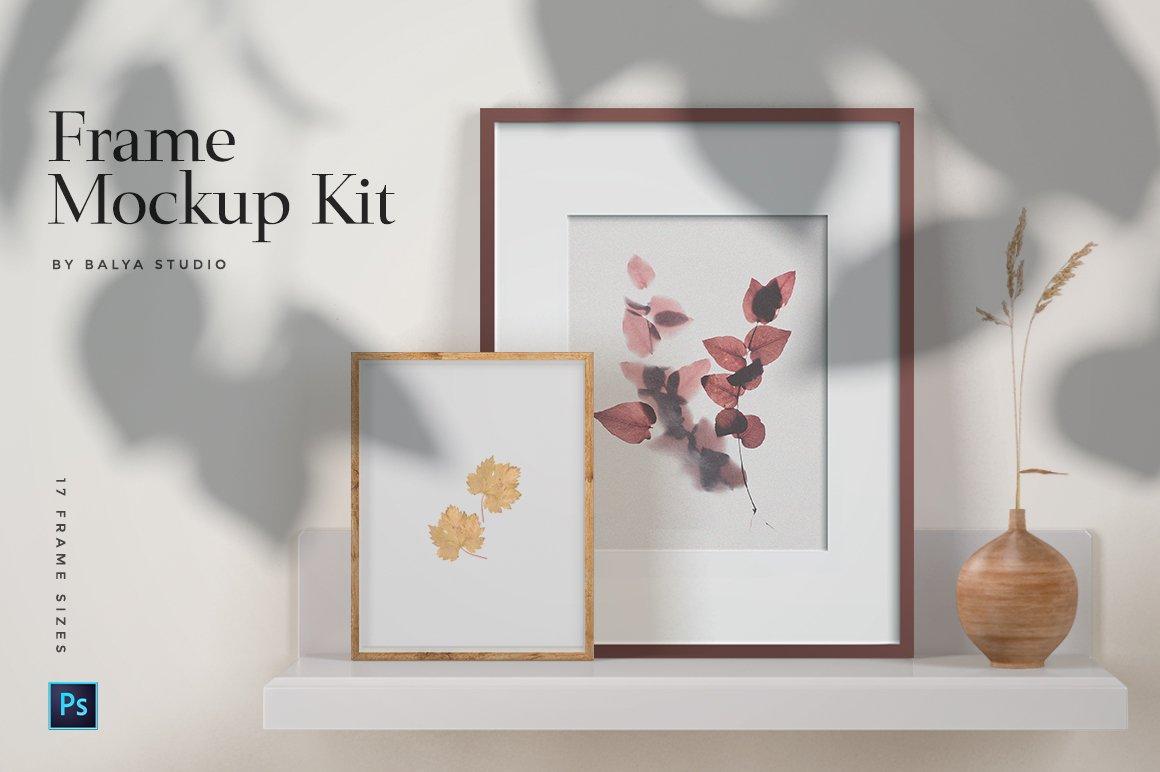 多规格木质画框绘画海报设计智能贴图展示样机PS素材 Frame Mockup Kit插图