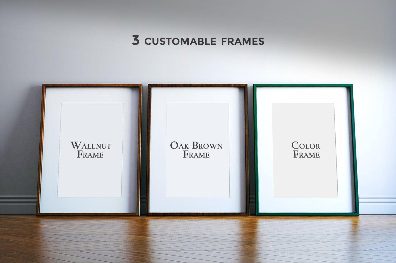 多规格木质画框绘画海报设计智能贴图展示样机PS素材 Frame Mockup Kit插图(10)