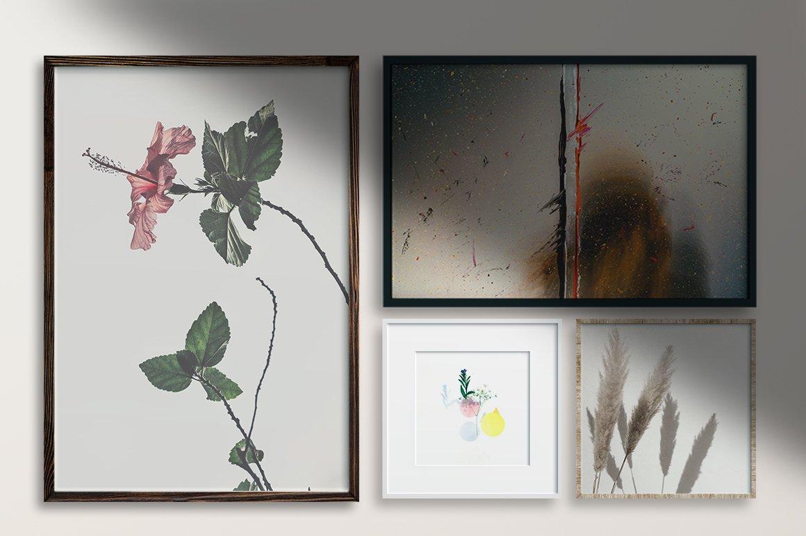 多规格木质画框绘画海报设计智能贴图展示样机PS素材 Frame Mockup Kit插图(1)