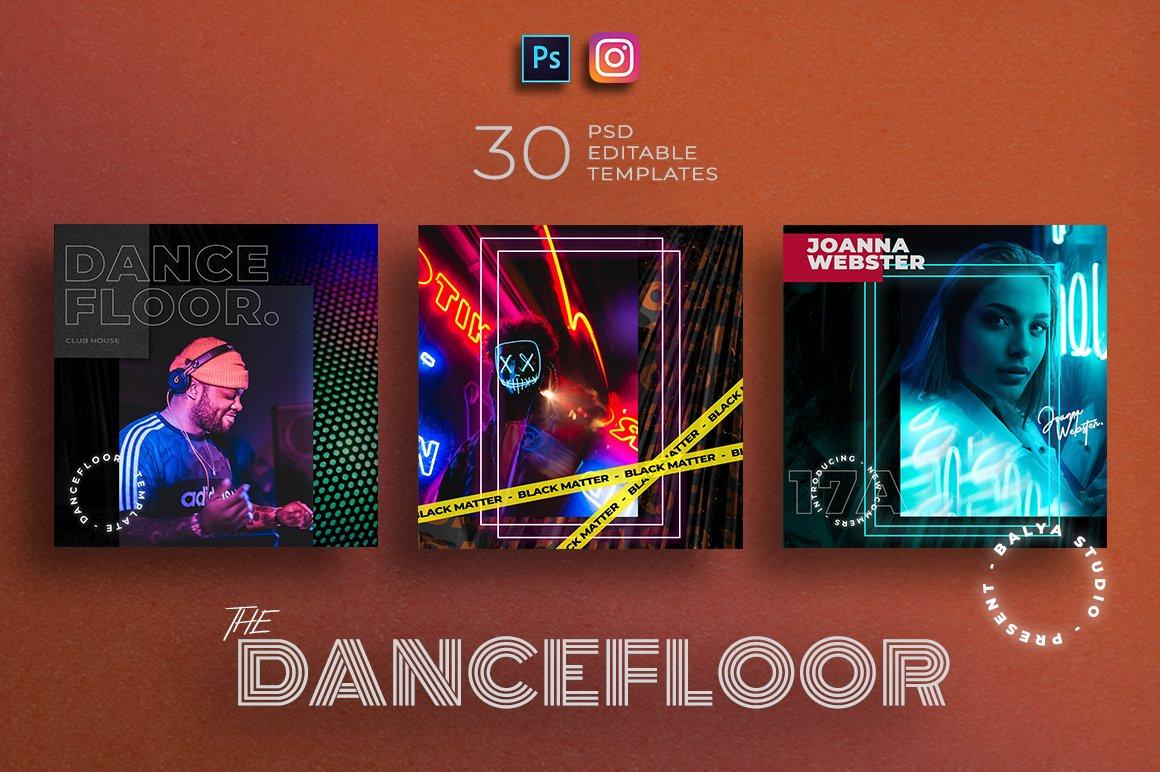 潮流霓虹城市风品牌推广新媒体电商海报设计PSD模板 Dance Floor – Instagram Template插图(4)