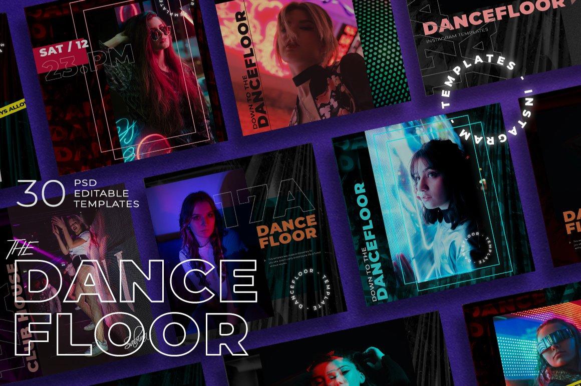 潮流霓虹城市风品牌推广新媒体电商海报设计PSD模板 Dance Floor – Instagram Template插图