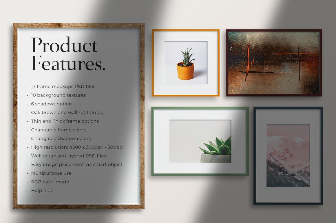 多规格木质画框绘画海报设计智能贴图展示样机PS素材 Frame Mockup Kit插图(2)