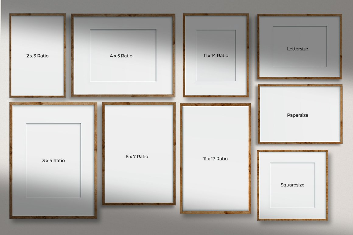 多规格木质画框绘画海报设计智能贴图展示样机PS素材 Frame Mockup Kit插图(6)
