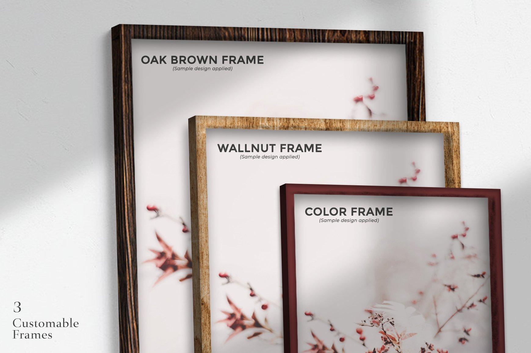 多规格木质画框绘画海报设计智能贴图展示样机PS素材 Frame Mockup Kit插图(5)