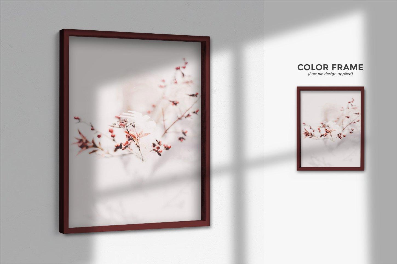 多规格木质画框绘画海报设计智能贴图展示样机PS素材 Frame Mockup Kit插图(7)