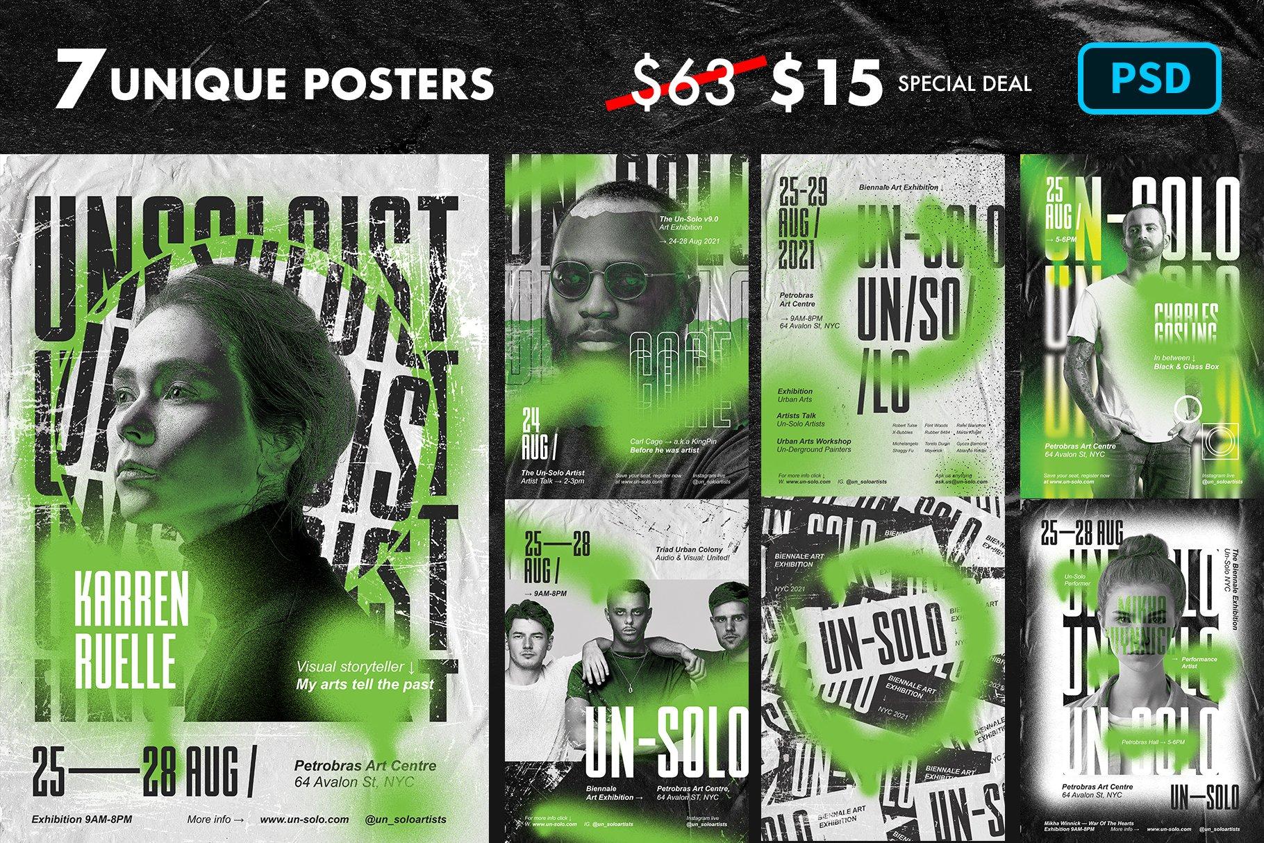 7款艺术气息做旧褶皱涂鸦效果城市街头传单海报设计PSD模板 Artist Event Poster Templates插图